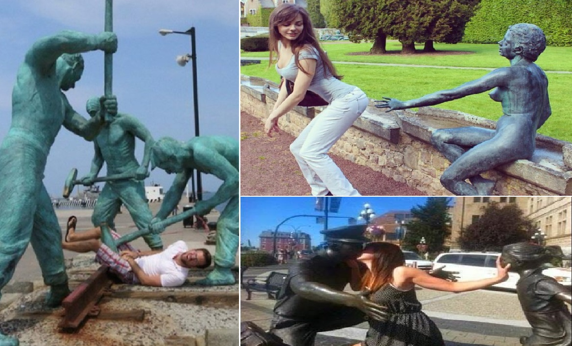 People Having Fun With Statues