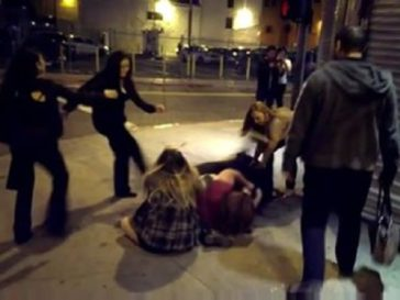 Some Chicks Brawling On A Street Corner